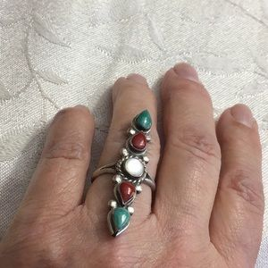 Vintage Navajo SS Turquoise,Coral, Ring